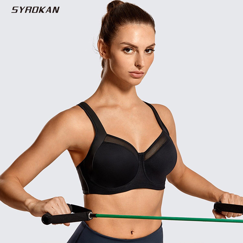 SYROKAN Women's High Impact Non Padded Underwire Powerback Support Sports Bra